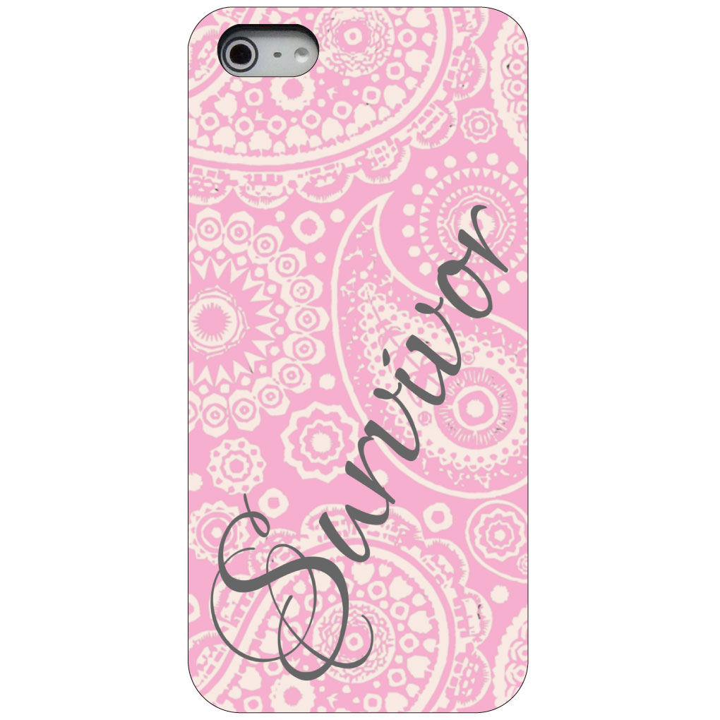 CUSTOM Black Hard Plastic Snap-On Case for Apple iPhone 5 / 5S / SE - White Pink Paisley Survivor