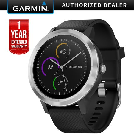 Garmin 010-01769-01 Vivoactive 3 GPS Fitness Smartwatch (Black & Stainless) + 1 year Extended