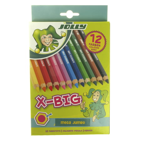 (Jolly X-Big Jumbo Colored Pencils, Assorted Colors, Set of 12)