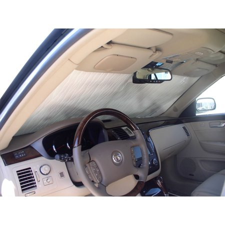 The Original Windshield Sun Shade, Custom-Fit for Cadillac DTS Sedan 2006, 2007, 2008, 2009, 2010, 2011, Silver Series