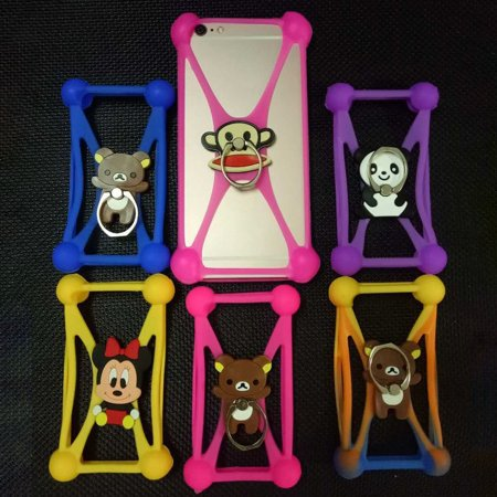 Silicone 3D Cartoon Stitch Universal Phone Frame Bumper 3.5-6 inch Back Cover Shell With Stand Ring Anti-dropping Phone Case - image 2 de 5