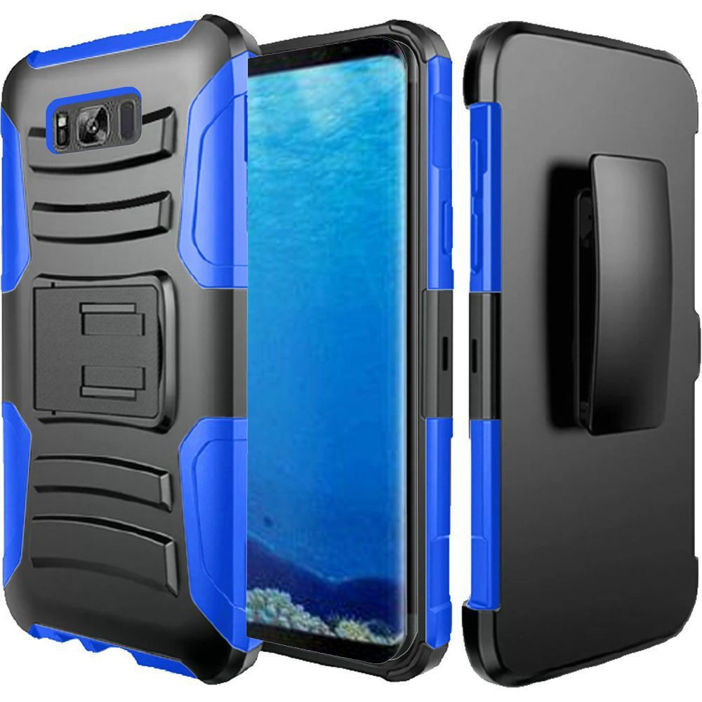 For Samsung S8 Case - Hybrid Phone Cover Side Kickstand With Holster Clip - Black+Dark Blue
