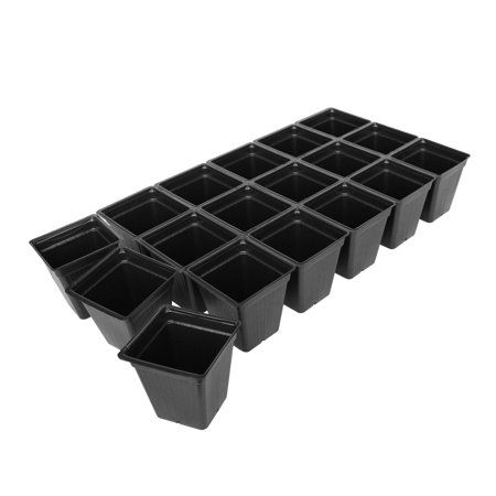 Black Plastic Garden Tray Inserts - 5 Sheets of 18 Planting Pot Cells Each - 3x6 Configuration - Perforated - Each Cell 3.5 In. Deep - 3.5 In. Square at