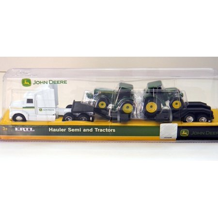 Farm Hauler Semi and 2 Bonus Tractors with Removable Trailer Play Set 1:64 Scale, 1:64 scale die cast farm hauler semi tractor. By John Deere Ship from US