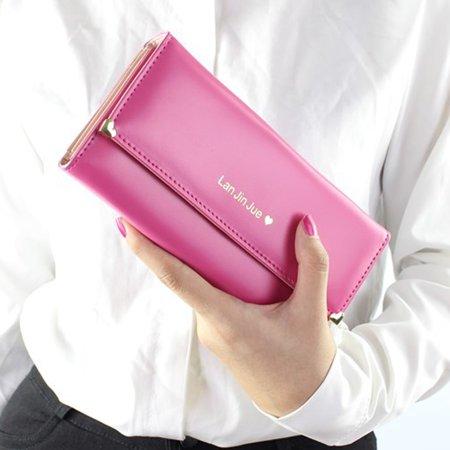 Fashion Women Leather Clutch Wallet Long Card Holder Case Purse Handbag Red