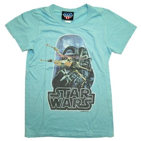 Star Wars Darth Vader Retro X Wing Soft Juniors Babydoll T-Shirt Tee: X-Large