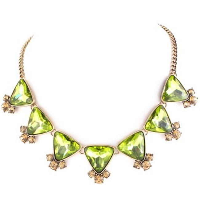 C Jewelry Gold And Olive Oxide Glass With Champagne Crystal Necklace - image 1 of 1