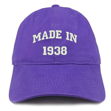 Trendy Apparel Shop Made In 1938 Text Embroidered 80th Birthday Brushed Cotton Cap
