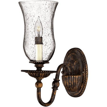 Wall Sconces 1 Light With Forum Bronze Clear Seedy Hurricane Hand-Painted Metalwork Candelabra Base 5 inch 60 Watts