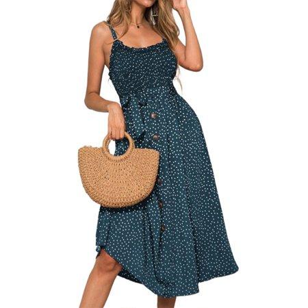 Womens Strappy Summer Sleeveless Polka Dot Midi Dress Casual Loose Swing Holiday Sundress