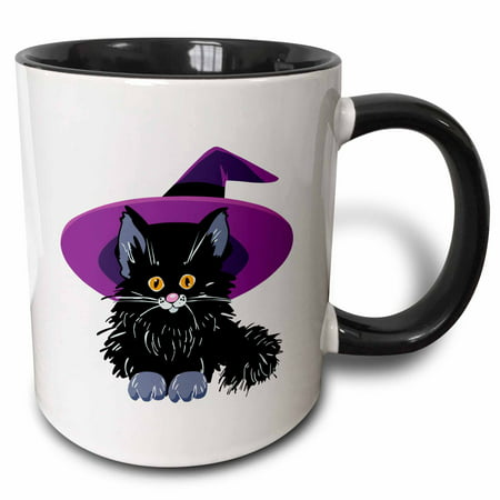 3dRose Cute Adorable Baby Black Kitten Kitty Cat Wearing Purple Witch Hat For Halloween Spooks - Two Tone Black Mug, 11-ounce