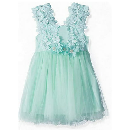 Little Toddler Girl Lace Floral Sleeveless Tulle Tutu Princess Formal Party Dress