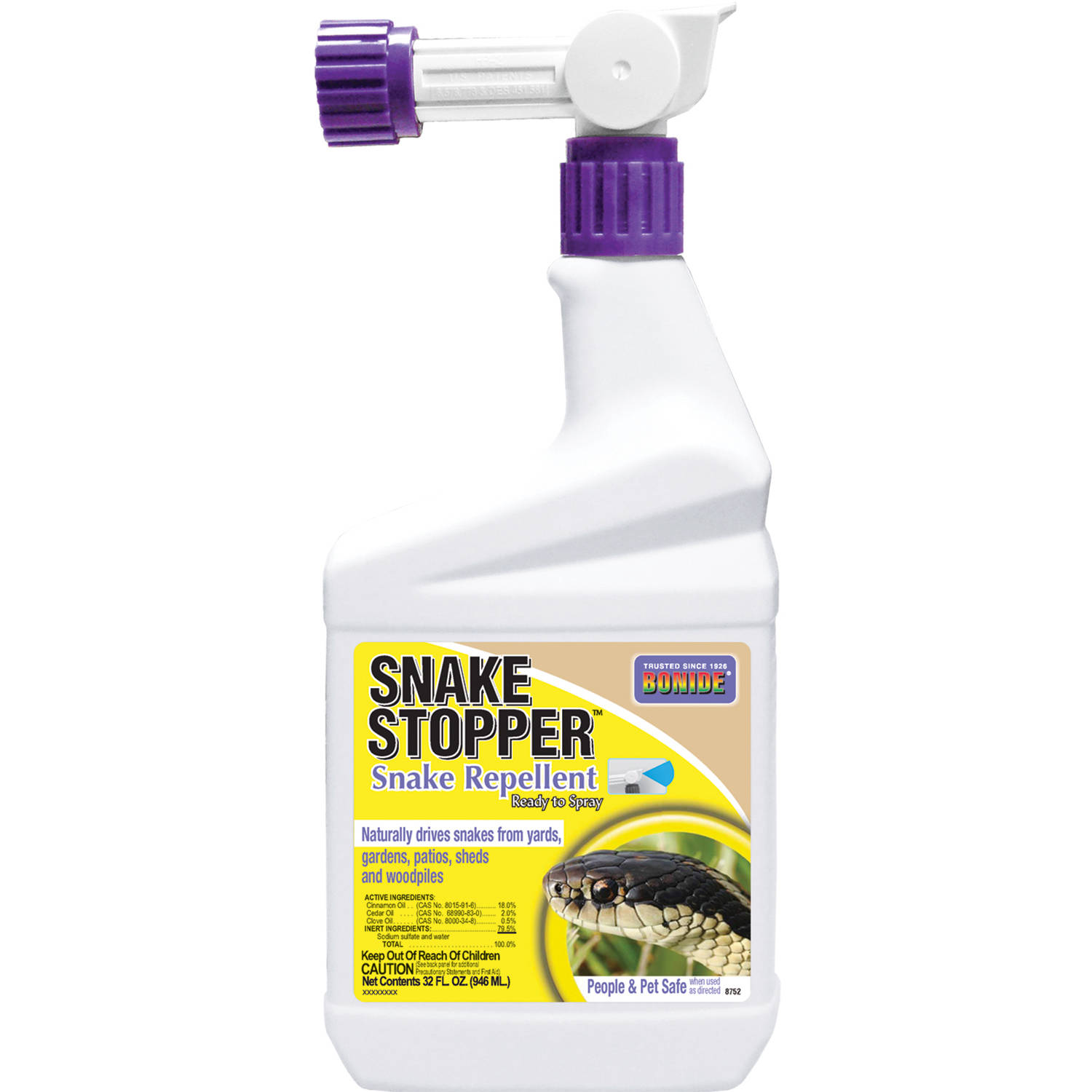 BONIDE Animal Repellent, All Natural Snake Stopper, Qt Spray