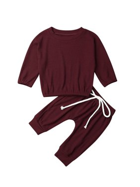 0-24 Toddler Baby Girls Clothes Solid Tops T-shirt + Long Pants Outfits Set
