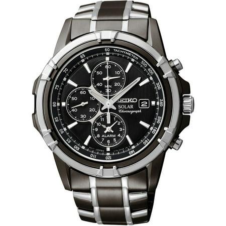 - Mens Solar Alarm Chronograph Stainless Watch - Two-tone Bracelet - Black Dial - SSC143