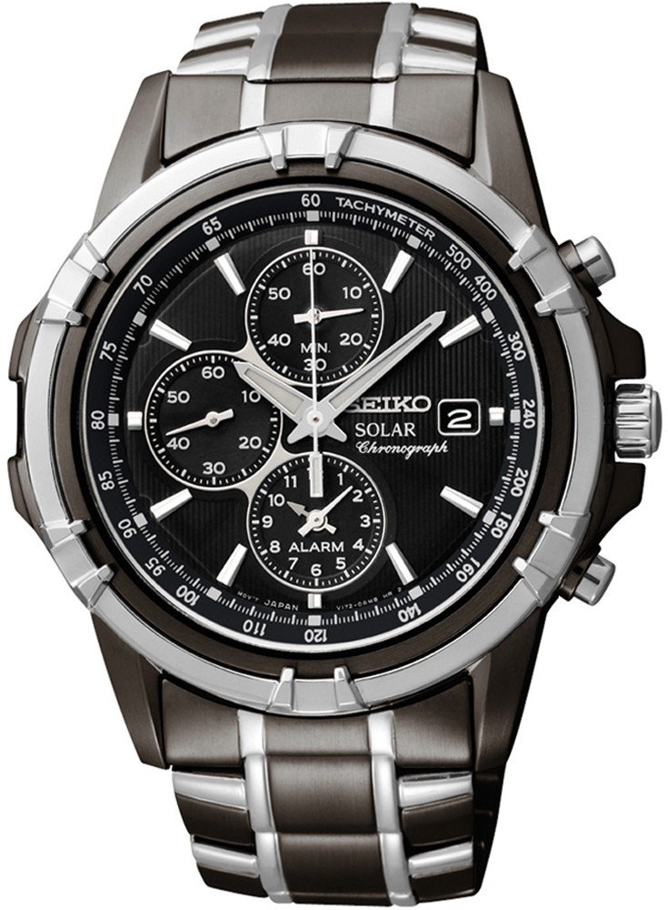 Seiko Mens Solar Alarm Chronograph Stainless Watch - Two-tone Bracelet - Black Dial - SSC143