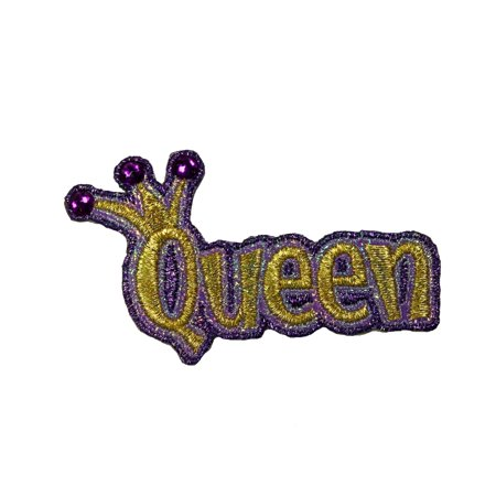 Queen Crown Jeweled Patch Happy Shiny Nametag Embroidered Iron On Applique