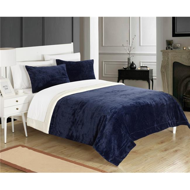 Chic Home SB4797-US 2 Piece Eve Blanket Set Soft Sherpa Lined Microplush Faux Mink, Navy