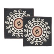 """Noble House Thierno Decorative Throw Pillow Cover, 20"""" x 20"""", Black, White and Brown, 2 Pack"""