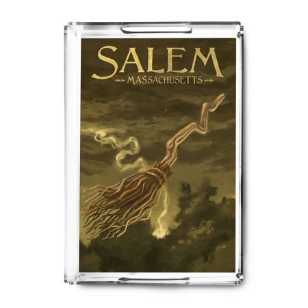 Salem, Massachusetts - Witch's Broom - Halloween Oil Painting - Lantern Press Artwork (Acrylic Serving Tray)
