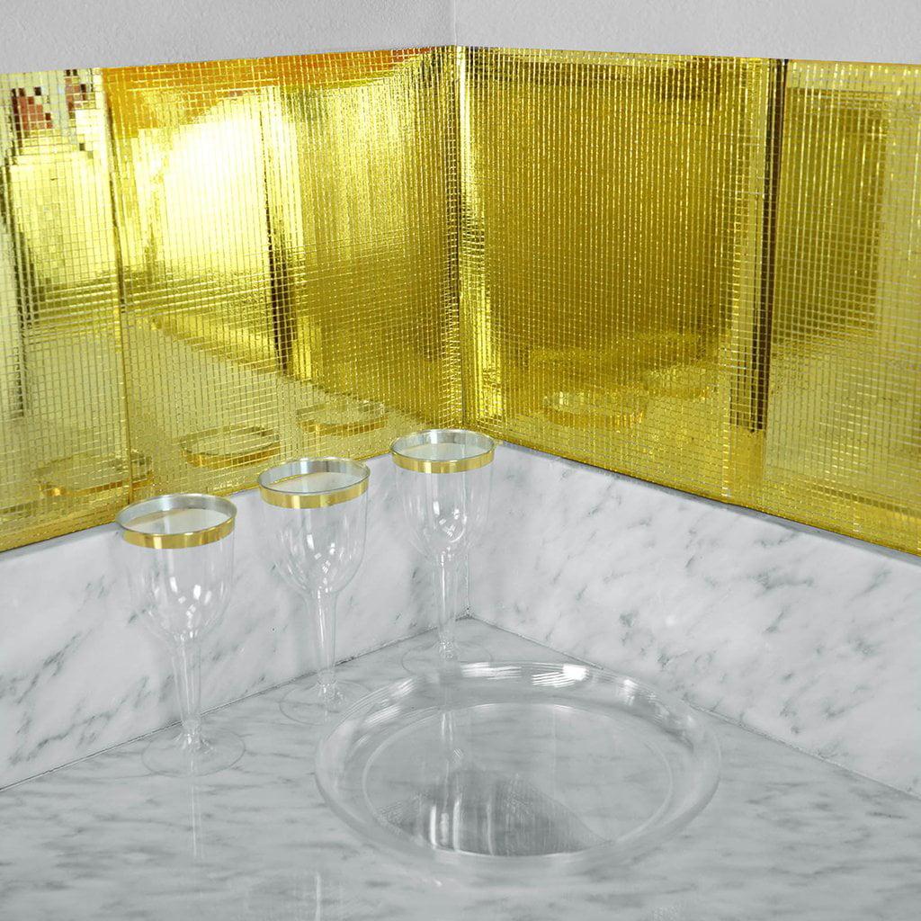 "Efavormart 10 Pack Self Adhesive Mosaic Mirror Backdrop Wall Tile - 12""x12"""