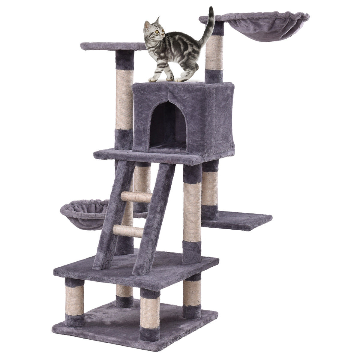 Gymax 46'' Cat Tree Kitten Pet Play House Furniture Condo Scratching Posts Rope Ladder by Gymax