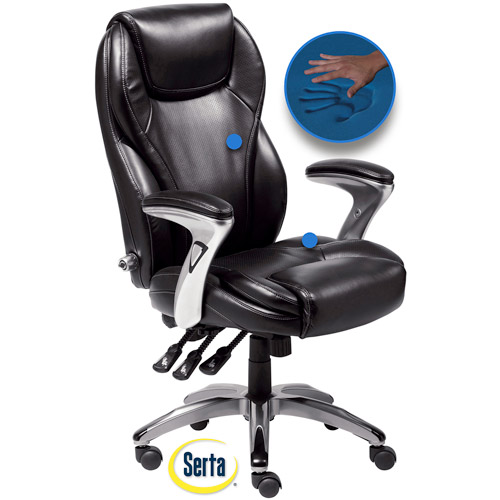 Serta Bonded Leather Ergo Super Task Chair, Black
