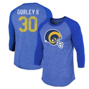 Todd Gurley II Los Angeles Rams Majestic Threads Player Name & Number Raglan Tri-Blend 3/4-Sleeve T-Shirt - Royal