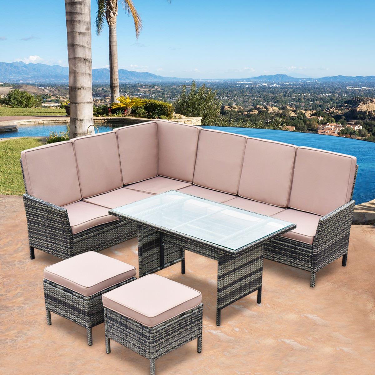 Costway 5PCS Patio Wicker Rattan Furniture Set Sofa Ottoman Garden Deck W Brown Cushion by Costway