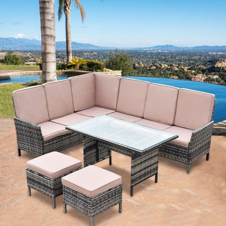 Goplus 5PCS Patio Wicker Rattan Furniture Set Sofa Ottoman Garden Deck with Beige Cushions ()