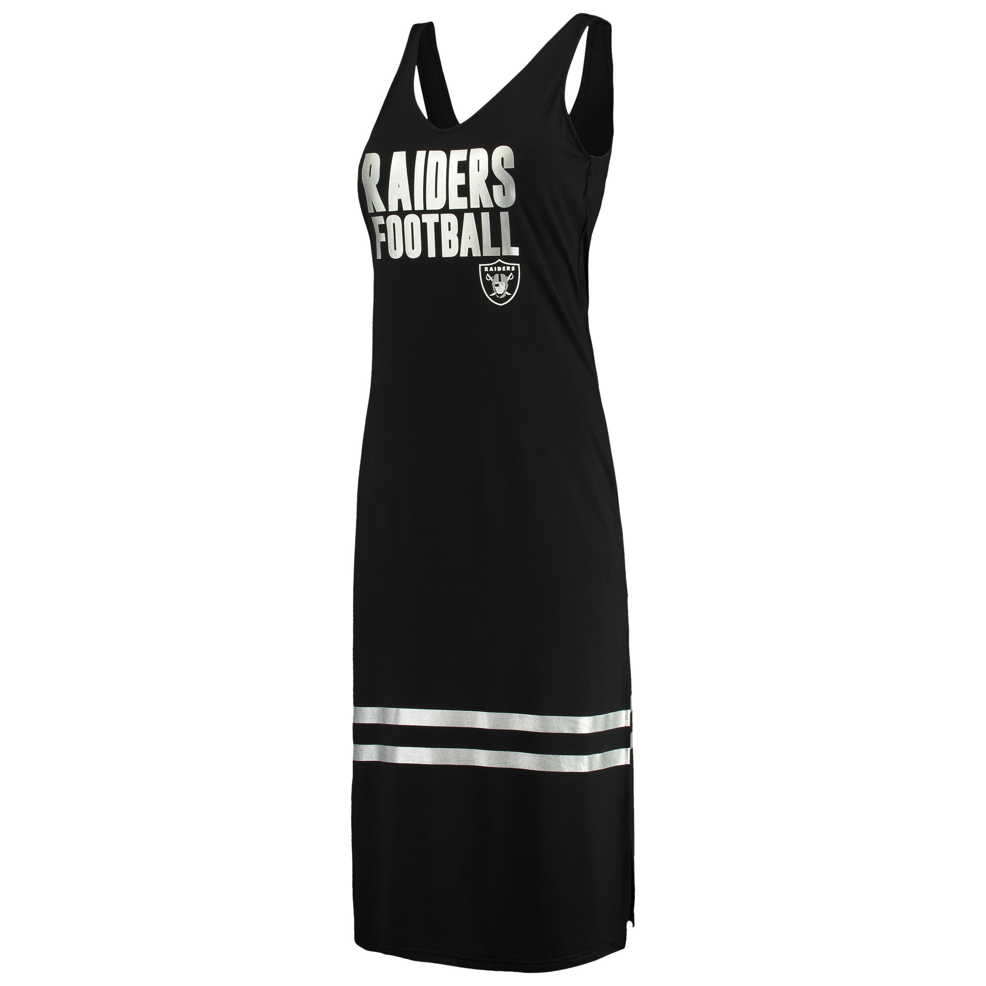 Oakland Raiders G-III 4Her by Carl Banks Women's Opening Day Maxi Dress - Black/Silver