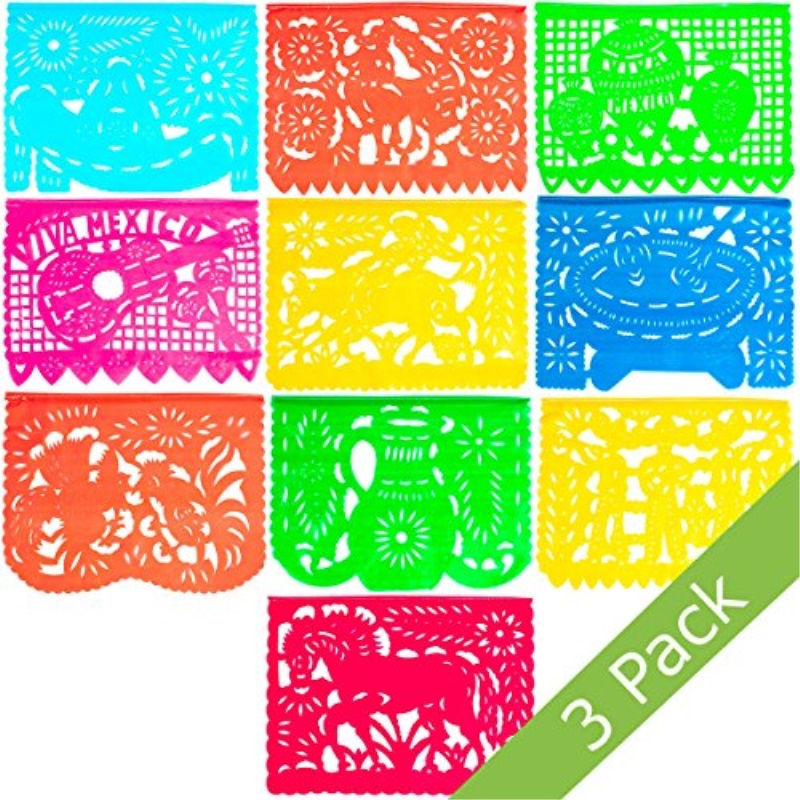 Large Plastic Papel Picado Banner - 15 Feet Long - Two Designs to choose from (3 Pack, Mexico Querido)