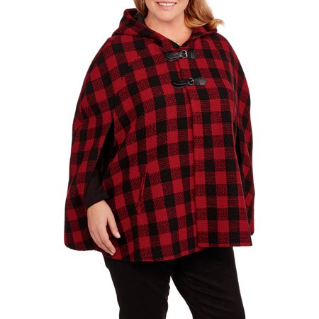 - Maxwell Studio Women's Plus-Size Hooded Plaid Cape with Faux Leather Buckle Details
