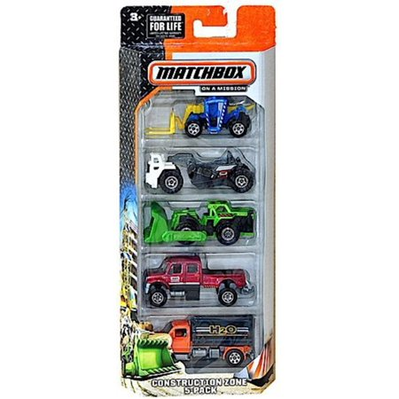 , 2015 On A Mission Construction Zone 5-Pack, Includes 5 1:64 scaled die-cast vehicles. By Matchbox - Construction Zone