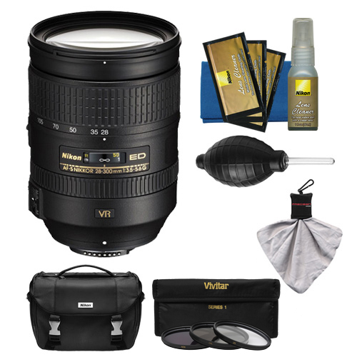 Nikon 28-300mm f/3.5-5.6 G VR AF-S ED Zoom-Nikkor Lens + 3 Filters + Case Kit for D3200, D3300, D5300, D5500, D7100, D7200, D750, D810 Camera