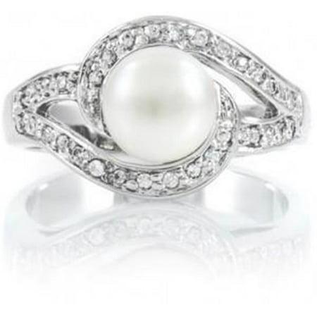 Harry Chad Enterprises 31557 0.40 CT White Gold Jewelry Round Diamond Pearl Wedding Ring