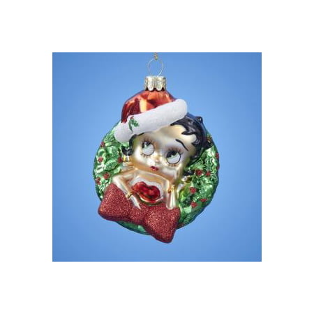 BETTY BOOP With WREATH GLASS ORNAMENT