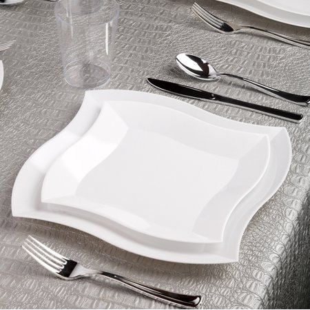 Kaya Collection - Wave White Disposable Plastic Dinnerware Party Package - Includes Dinner Plates, Salad/Dessert Plates, Silver Cutlery, Tumblers (120 Person - Silver Plastic Dinner Plates