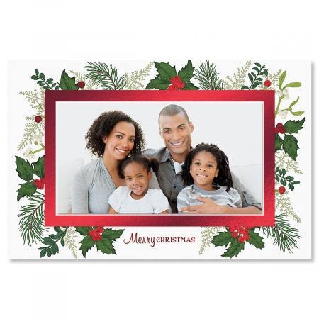 Deluxe Holly Photo Sleeve Christmas Cards- Set of 18 Holiday Greeting Cards