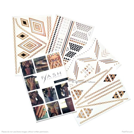 Flash Tattoos Dakota metallic gold, silver and balck temporary jewelry tattoo pack, 4 sheets, over 43 metallic temporary tats](Jewelry Tattoos)