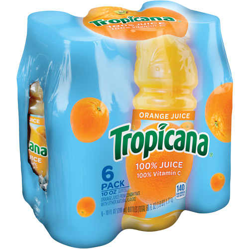 Tropicana 100% Orange Juice, 10 fl oz, 6 pack