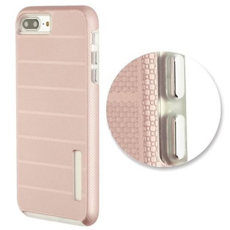 Apple iPhone 7 Plus/8 Plus Case, by Insten Dots Textured Fusion Dual Layer [Shock Absorbing] Hybrid Hard Plastic/Soft TPU Rubber Case Cover For Apple iPhone 7 Plus/8 Plus, Rose Gold/White - image 2 de 4
