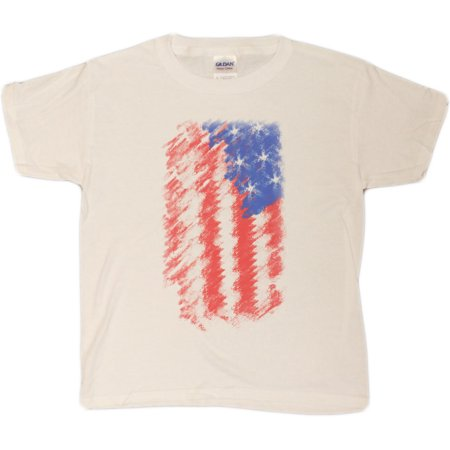 Unisex-Big Kids 4-20 American Flag 4th Of July Tribute Patriotic Distressed Youth T-Shirt