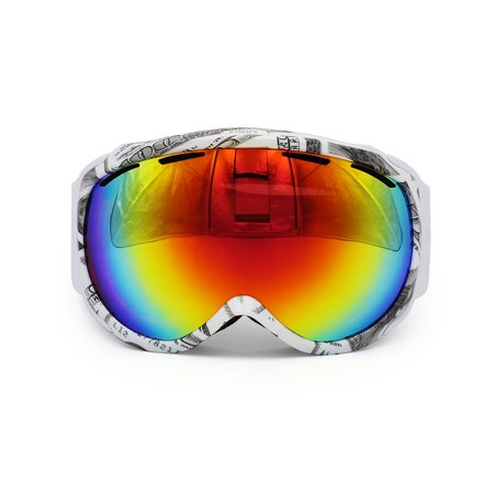 Ediors Windproof Outdoor Ski & Snowboard Goggles - Dual Anti-fog Lens All Mountain / UV (09 Snowboard Goggles)