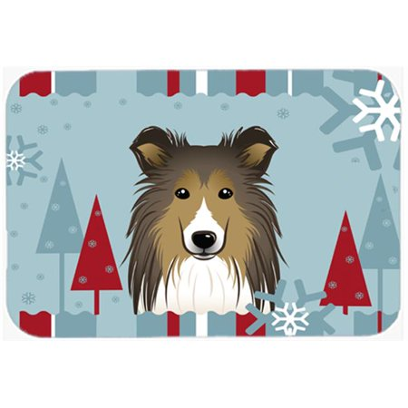 Winter Holiday Sheltie Glass Cutting Board, Large - image 1 de 1