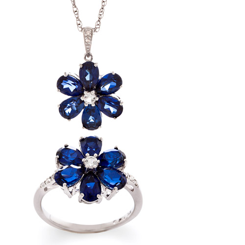 6.96 Carat T.G.W. Pear-Shaped Created Sapphire and 6.96 Carat T.G.W. Created White Sapphire with Diamond Accent Pendant and Ring Set in Sterling Silver