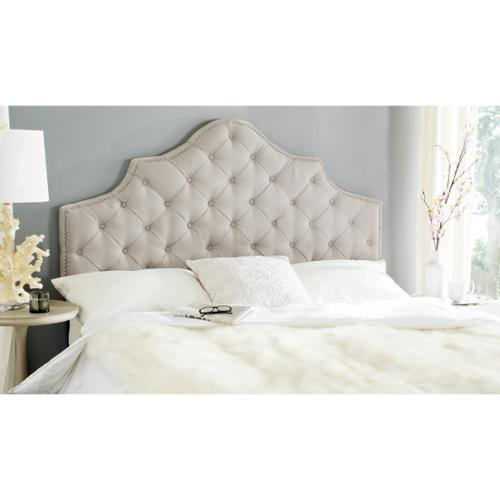 Safavieh Arebelle Taupe Linen Upholstered Tufted Headboard Silver Nailhead (Full) by Overstock
