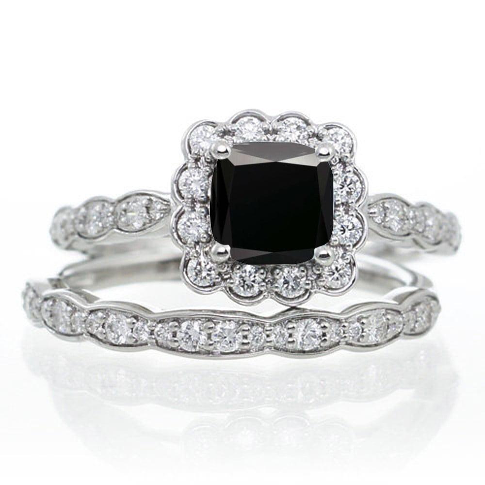 2 Carat Princess Cut Black Diamond And Wedding Ring Set On 10k White Gold