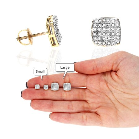 10K Yellow Gold Pave Set Natural Diamond Stud Earrings 0.05Ct-0.20Ct