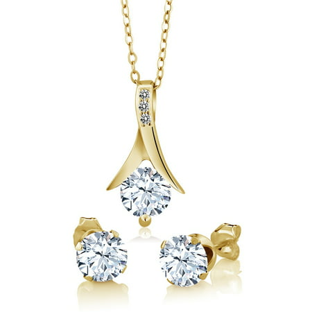 3.65 Ct Created Sapphire White Diamond 18K Yellow Gold Plated Silver Jewelry (Court Diamond Set)